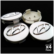 4x Hyundai 60mm 6cm Alloy Wheel  Center Hub Cap HubCaps Centre Covers Chrome logo