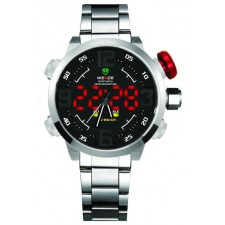 WEIDE DUAL TIME LED* WH2309 SIl BLK SPORT DIGITAL ANALOG WATCH..