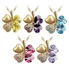 Four Leaf Clover Crystal necklace - 5 colors Available
