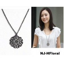 Trendy Black Silver Hollow Floral Chain Long Necklace