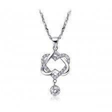Platinum Plated Silver Necklace Heart in Heart Pendant with Chain