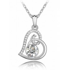 Austrian Crystal Love Necklace WHITE