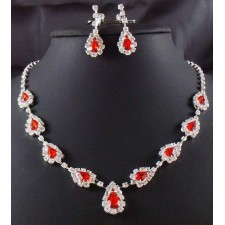 SALES Wedding Bridal Set Necklace Earrings RED