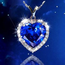 SALES Crystal Titanic Ocean Blue Heart-shaped Necklace