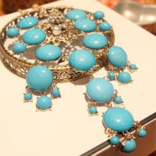 Clearance Bubble 18-karat Gold Plated Resin Necklace BLUE