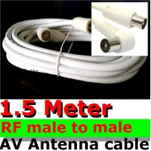1.5M RF male to male plug AV TV antenna AUDIO VIDEO cable extension