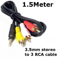 AV Cable Stereo 3.5mm to RCA Jack 1.5Meter view cam Audio Video system
