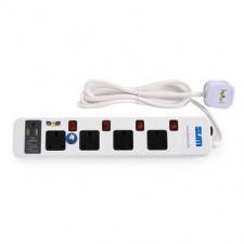 SUM 4 way 13A plug USB socket extension 2 Meters NEON Switch SURGE
