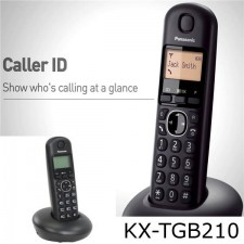 PANASONIC LCD Cordless Phone KXTGB210 Black With Rechargeable Battery