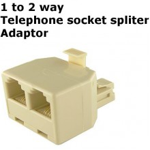 1 To 2 way Socket Adaptor Telephone 2 line Extension Spliter Modem