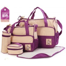 5 in 1 MultiFunction Mummy Mother Baby Diaper Bag Set (Purple)