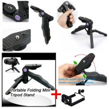 2in1 Portable Folding Tripod 3 legs Stand Hand Grip + Mobile Holder