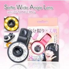 Selfie Wide Angle Lens with LED Twinkle Ring BLACK