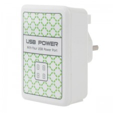 UK Plug 4 USB Ports Charger Adapter For iPhone Smartphone Device