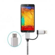 1 Meter Nylon Braided 2 in 1 Android+Lightning USB Charger Cable