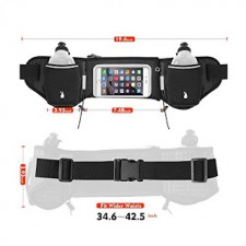 6 inch Running Sports Waist Pack Belts Pouch with Dual Bottle Holder
