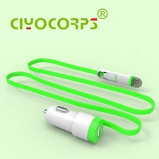 CIYOCORPS 2.4A Quality Mini USB In Car Charger With 2 IN1 Cable