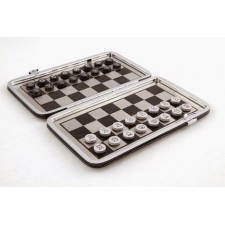 Game chess Aluminum mini chess with leather case, best gif,travel set