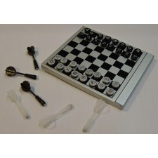 Portable 2-in-1 Chess + Magnetic Dart Game Set in Alloy Box,travel set
