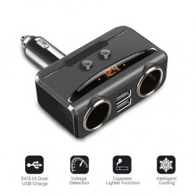 3.1A Dual USB & Cigarette Socket With Volt Display Car Charger