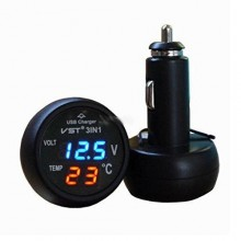 2.1Amp USB Car Charger, Digital Voltmeter & Thermometer