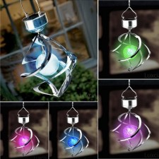 Solar wind and the rotation of colorful hanging lights solar garden li