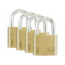 YALE YE1/40/122/4 K-A-L Essential Brass Padlock Pack of 4