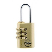 YALE Y150/22/120/1 22mm Brass Resettable Padlock With Steel Shackle