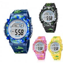 ARMY Camouflage Kids LED Digital Multi Function Rainbow Light Watch