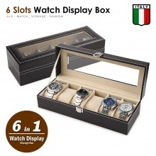 6 Slots Premium Italy Leather Watch Display Pillow Holder Case Storage Box 001