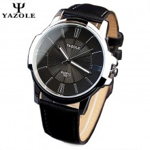 YAZOLE Round Dial Leather Band S/S Quartz Men's Wrist Watch- 4 OPTIONS