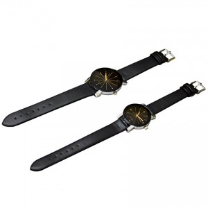 1 Pair of Couple Wrist Watch Casual PU Leather Round Dial Watchband (Black)