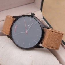 MVMT Watches Black Face Tan Leather Strap Men's Watch