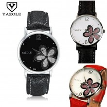 Yazole Round Dial Water Resistance Flower Pattern Black Strap Leather Watch