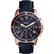 Fossil Men Grant Sport Blue Dial Chrono Leather Watch FS5237