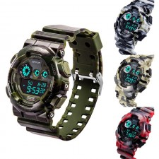 SMAEL Men's Luxury Silicone Strap Analog-Digital Led Dual Time Watch