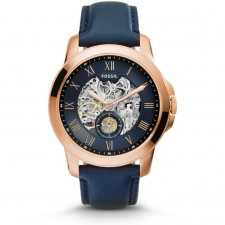 Fossil Men Grant Automatic Blue Skeletal Blue Leather Watch ME3054