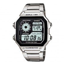 Casio AE1200WHD-1A (Casio Royals) World Time Silver Watch