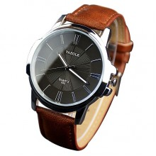 Yazole Men's Sunray Collection Brown Leather Strap Watch