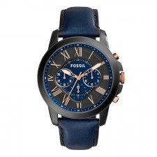Fossil Men's Grant Chrono Navy Leather Watch FS5061