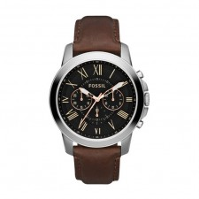 Fossil Men's Grant Chrono Black Dial Brown Leather Watch FS4813