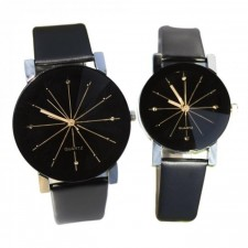 Men Women's Casual PU Leather Strap Round Dial Couples Quartz Watch Sport Watches