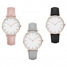 Gold Edition ladies watches Womens Leather Strap watch (Grey)