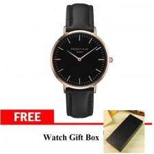 Watch Black Leather Strap Black Analogue Stainless Steel Quartz Wrist + Gift Box