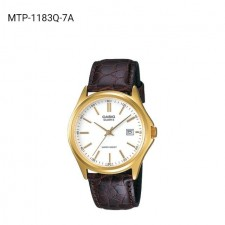 CASIO MTP-1183Q-7A ORIGINAL MEN'S ANALOGUE LEATHER CASUAL WATCH (WARRANTY+BOX)