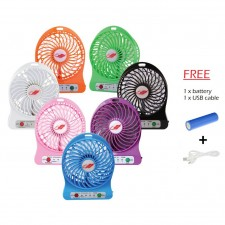 Portable Rechargeable 3 Speed Strong Wind Mini Leaf Fan with LED light