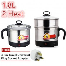 Stainless Steel 2 Heat 1.8L Multi Functional Electric Steamboat Cooker