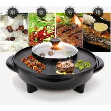 BBQ Grill & Steamboat Hot Pot Shabu Roast Fry Pan (2 in 1)