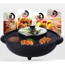 2-in-1 BBQ Grill & Steamboat Hot Pot Shabu Roast Fry Pan 2000W