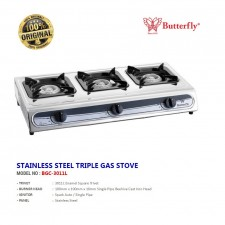 BUTTERFLY BGC-3011L Triple Burner gas Cooker / Dapur Tiga Tuku
